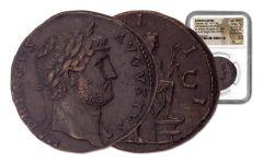 124-128 AD Ancient Roman Bronze of Hadrian British Museum NGC Choice-XF*