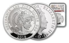 2018 Great Britain One-Ounce Silver Britannia NGC PF70UC First Releases