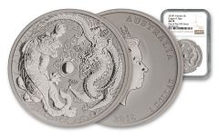 2018 Australia $1 1-oz Silver Tiger and Dragon NGC MS70 One of First 593 Struck