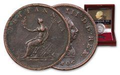 1760-1820 Great Britain George III AE Copper Half-Penny - The Last King of America