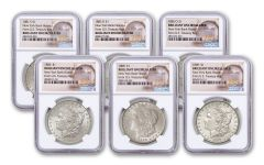 1881-1889-P-O-S $1 Morgan New York Bank Treasury Hoard 6 Piece Set NGC BU