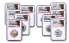 2018-S United States Silver Reverse Proof Set NGC PF70 First Day of Issue - Trolley Label