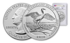 2018-P Cumberland Island National Seashore 5-oz Silver Quarter America the Beautiful PCGS SP70 First Strike - Mercanti Signed, Flag Label