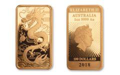 2018 Australia $100 1-oz Gold Dragon Rectangular Proof