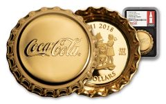2018 Fiji $50 1-oz Gold Coca-Cola Bottle Cap NGC PF70UC First Day of Issue - Black Core, Coke Bottle Label