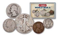 1942 1 Cent – 50 Cents World War II 5-Piece Set VG