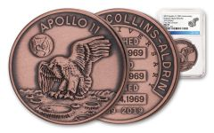 Apollo 11 Robbins Medal 1-oz Copper NGC MS70 First Day of Issue - 50th Anniversary Commemorative