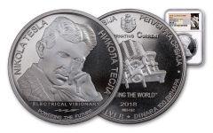 2018 Serbia 1-oz Silver Nikola Tesla Alternating Current NGC MS70 First Releases - Tesla Label