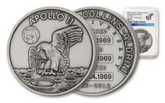 Apollo 11 One-Ounce Silver Robbins Medal with Space Flown Alloy NGC MS70 First Day of Production - 50th Anniversary Commemorative