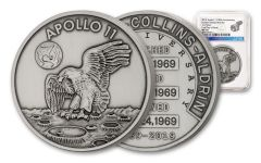 Apollo 11 One-Ounce Silver Robbins Medal with Space Flown Alloy NGC MS70 First Day of Issue - 50th Anniversary Commemorative