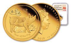 2019 Australia $15 1/10-oz Gold Lunar Year of the Pig NGC PF70UC