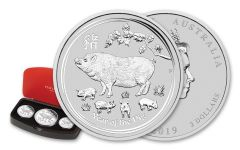 2019 Australia Silver Lunar Year of the Pig 3-Piece Proof Set