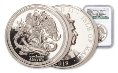 2018 Isle of Man 2-oz Silver Angel High Relief Piedfort NGC PF70UC First Releases - Angel Label