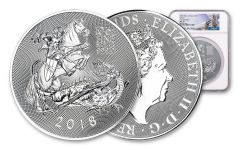 2018 Great Britain 10-oz Silver Valiant Saint George Incuse NGC MS70 First Releases