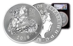 2018 Great Britain 10-oz Silver Valiant Saint George Incuse NGC MS70 First Releases, Black Core