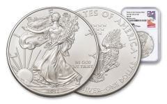 2012-S $1 1-Ounce Silver Eagle NGC MS69 Struck At San Francisco - Mercanti Signed Label