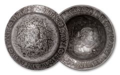 2018 Canada $25 1.5-oz Silver Lest We Forget WWI Helmet-Shaped Concave Ultra High Relief Antiqued BU