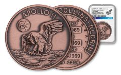Apollo 11 Robbins Medal 1-oz Copper NGC Gem Unc First Day of Production - 50th Anniversary Commemorative