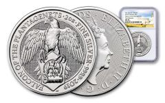 2019 Great Britain 2-oz Silver Queen's Beasts Falcon of the Plantagenets NGC MS70 First Releases