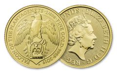 2019 Great Britain 1/4-oz Gold Queen's Beasts Falcon of the Plantagenets BU
