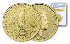 2019 Great Britain 1/4-oz Gold Queen's Beasts Falcon of the Plantagenets NGC MS70 First Day of Issue