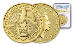 2019 Great Britain 1-oz Gold Queen's Beasts Falcon of the Plantagenets NGC MS70 First Day of Issue