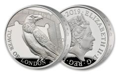 2019 Great Britain £5 Silver Tower of London Ravens Piedfort Proof