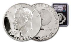 1976-S Eisenhower Silver Dollar NGC PF69 Cameo Charlie Duke Signed Label, Black Core