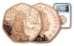 2018 Great Britain 50 Pence 15.5-Gram Gold Paddington at Paddington Station NGC PF70UC First Releases