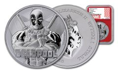2018 Tuvalo $1 1-oz Silver Deadpool NGC MS70 First Releases - Red Core, Marvel Label
