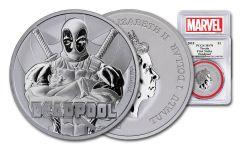 2018 Tuvalo $1 1-oz Silver Deadpool PCGS MS70 First Strike - Marvel Label