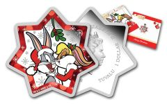 2018 Australia $1 1-oz Silver Looney Tunes Christmas Star-Shaped Proof