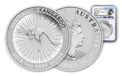 2019 Australia $1 1-oz Silver Kangaroo NGC MS70 First Day of Issue