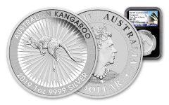 2019 Australia $1 1-oz Silver Kangaroo NGC MS70 First Day of Issue, Black Core