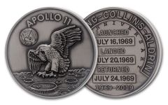 Apollo 11 Robbins Medal 5-oz Silver with Space Flown Alloy Uncirculated - 50th Anniversary Commemorative