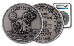 Apollo 11 Robbins Medal 5-oz Silver with Space Flown Alloy NGC MS70 - 50th Anniversary Commemorative
