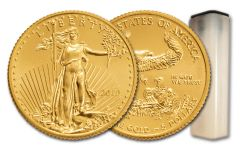 2019 $5 1/10-oz Gold American Eagle BU 50-Piece Roll