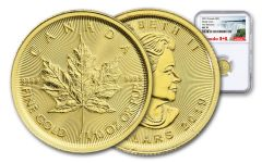 2019 Canada $5 1/10-oz Gold Maple Leaf NGC MS70 First Releases - Canada Label