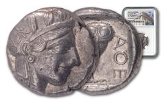 440–404 B.C. Ancient Attica Athens Silver Athena Owl Tetradrachm NGC AU - The Parliament Collection
