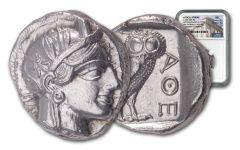 440–404 B.C. Ancient Attica Athens Silver Athena Owl Tetradrachm NGC MS - The Parliament Collection