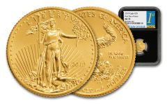 2019 $5 1/10-oz Gold American Eagle NGC MS70 First Day of Issue - Black Core