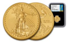 2019 $10 1/4-oz Gold American Eagle NGC MS70 First Day of Issue - Black Core