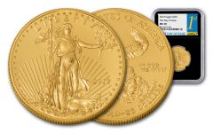 2019 $25 1/2-oz Gold American Eagle NGC MS70 First Day of Issue - Black Core