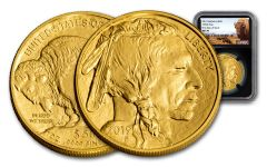 2019 $50 1-oz Gold Buffalo NGC MS70 First Day of Issue - Buffalo Label, Black Core