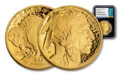 2018-W $50 1-oz Gold Buffalo NGC PF70UC First Day of Issue - Black Core
