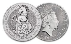 2019 Great Britain 10-oz Silver Queen's Beasts Unicorn of Scotland BU