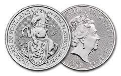 2019 Great Britain 1-oz Platinum Queen's Beasts Unicorn of Scotland BU