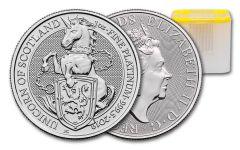 2019 Great Britain 1-oz Platinum Queen's Beasts Unicorn of Scotland BU 10-Piece Roll