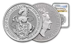 2019 Great Britain 1-oz Platinum Queen's Beasts Unicorn of Scotland NGC MS69