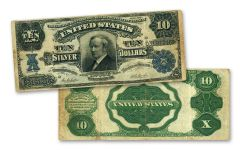 1908 Tombstone $10 Silver Certificate Currency Note VF